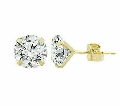 14K Solid Yellow Gold Round CZ Stud Earrings Sizes 2MM 3MM 4MM 5MM 6MM 7MM 8MM