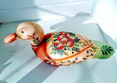 Beautiful Vintage Signed Folk art Wooden Duck Hand Painted Tole Decor 16x7