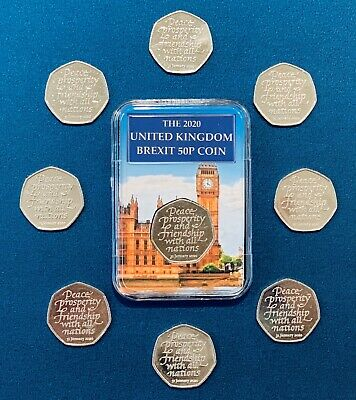 BREXIT Brilliant Uncirculated Limited Edition 50p Fifty Pence Coin Capsule 2020