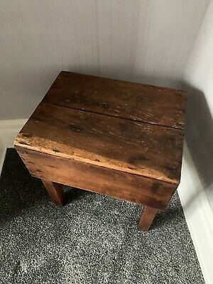 Vintage Antique Retro Solid Wood Hand Made Kitchen Stool