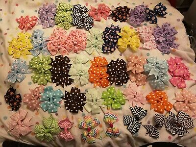 63 Patterned Bows Bundle Joblot Hair Accessory
