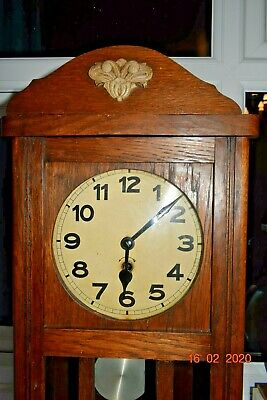 Old Oak Wall Clock Working With Key