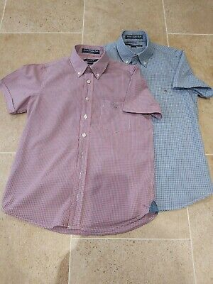 BOYS GANT SHORT SLEEVED SHIRT x2 AGE 9/10 CHECKED DESIGN EXCELLENT CONDITION