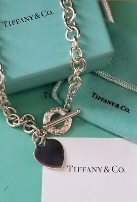 """Tiffany & Co. Heart Tag Toggle Choker Chain Silver 16.5"""" Necklace Box & Pouch"""