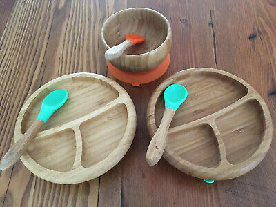 Avanchy Bamboo Baby Suction Plates And Bowl In Green Orange