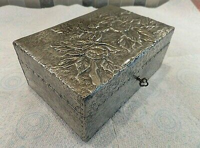 Antique Arts & Crafts Decorative Repousse Pewter Covered Box With Lock & Key