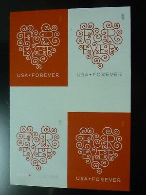#4955-56 MNH IMPERFORATE Block of 4 with Gutter 2015 Forever Hearts No Die Cuts