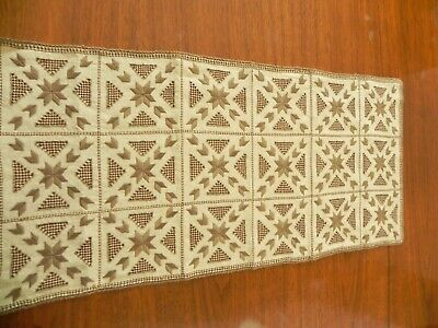 """Antique Lefkara Hand Embroidered Table Runner  30"""" x 14""""        #10c"""