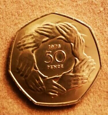 Collectables rare!1973  Ring of Hands 50p Fifty Pence Coin Brexit