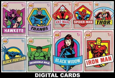 Topps Marvel Collect OLD SCHOOL 2020 [9 CARD SET] Black Widow/Iron Man/Thanos+++