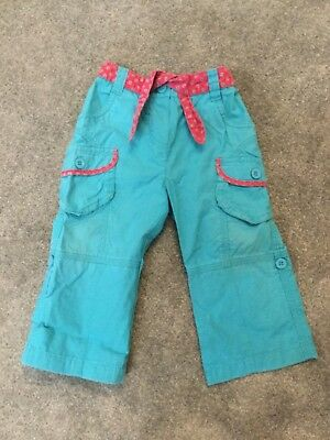 Mothercare Girls Age 9-12 Months Turquoise/Pink Trousers 100% Cotton Used
