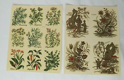 2 Sheets Decals Furniture Transfers  Herbs  Plants Chinese