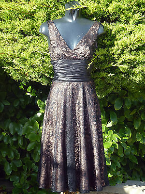 Monsoon CAMILLE Sexy Black Lace Dress Size 08 Wedding Races PROM Party BNWT