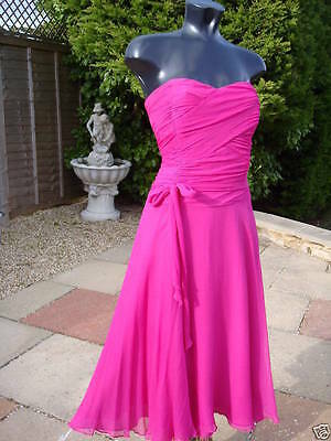 Monsoon Sarah Pink Silk Strapless Dress 08 Wedding Prom  Party Races
