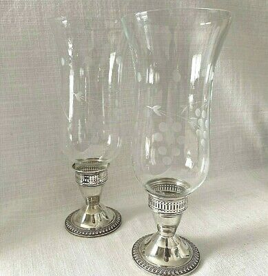 2 Sterling Silver Weighted Duchin Candle Holder Hurricane Lamp Grape Glass Shade