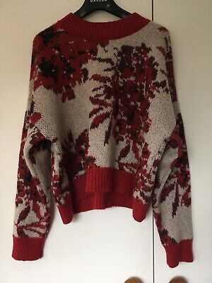 80s Wool Mohair Jumper Patterned  Batwings/ Vintage M&S Red Floral Intarsia L M