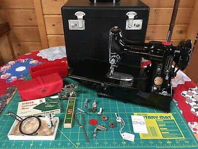Serviced 110 volt 222k Red S March 1960 Featherweight Singer Sewing Machine 222