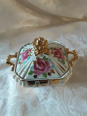 A Very Decorative Vintage U.s.s.r Hand Painted Gzhel Floral Dish With Gold ...