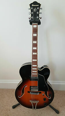 Ibanez Artcore AF75-BS-12-01 hollowbody jazz guitar with 'Hiscox' hard case