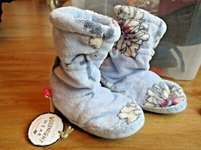 Girls Joules Blue Floral Slipper Boots Slippers Warm Fleece Size 8 9 10 Bnwt
