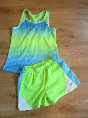 Girls Skechers Sport Active Wear Outfit Shorts Vest 7-8 Years