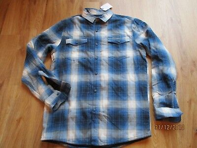 NEXT Boys Blue Checked Jersey Lined Shirt Size Age 12 years BNWT