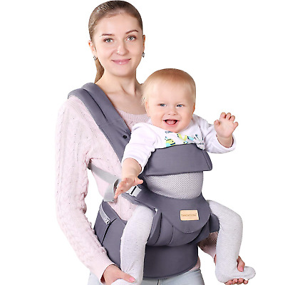 Infant Toddler Baby Carrier Wrap Backpack Front and Back, Hip Seat & Hood, Soft
