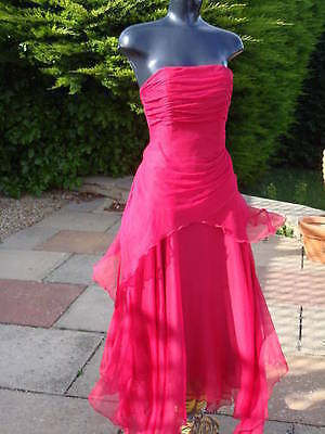 Monsoon ISABELLA Raspberry Pink Silk Dress 08 10 PROM Party Wedding Races PROM