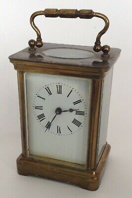 Victorian Brass Carriage Clock With Enamel Dial and Lion Stamped