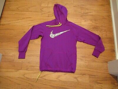 GIrls NIKE Therma Fit magenta purple JUST DO IT Hooded jersey Sz S