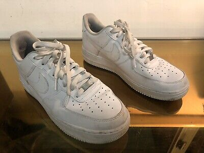 Mens Nike Air Force 1 White Leather Classic Sports Fitness Gym Trainers Size 9