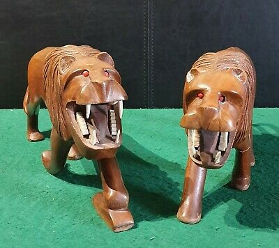 Stunning Pair of Hand Carved Rosewood Lions Roaring