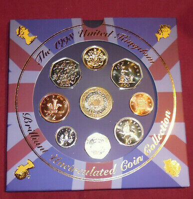 New 1998 Royal Mint uncirculated UK coin set. European union 50p. Collector
