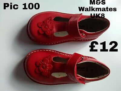 M&S Walkmates Red girls shoes UK 8 Christmas Excellent Marks and Spencer