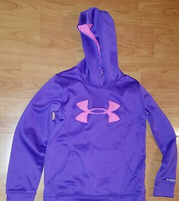 Girls Purple Pink Under Armour Hoodie Size Youth S/M Loose Fit