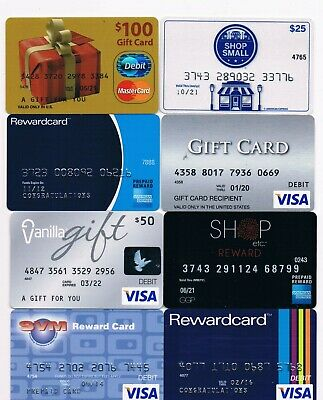 Collectible gift rewards cards NO VALUE lot of 8 old used Shop Small, Vanilla