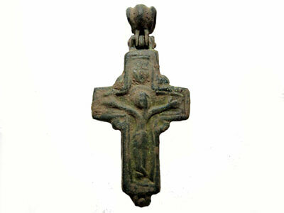Outstanding Byzantine Encolpion Bronze Reliquary Cross, As Found+++Unopened+++