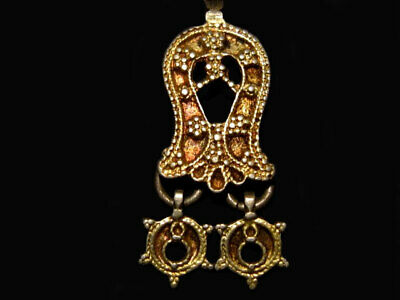 CHOICE ANTIQUE 1700-1800s. GILT SILVER LUNULAE CRESCENT PENDANT SET+++