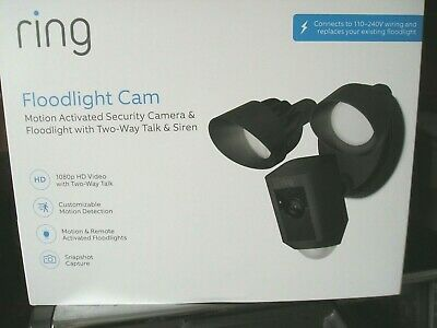 New Ring Black Floodlight Wired Outdoor Security Cam