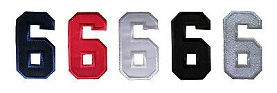 6 School Alphabet Red Color Applique Iron on Patch Sew Number Six No
