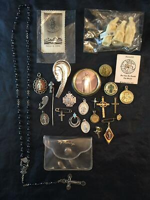 Large Lot of Christian Catholic Rosary Pins Necklace Charms Blessed Mother
