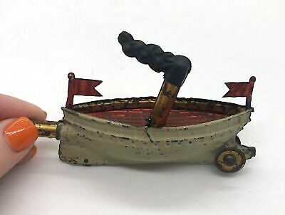 Antique 1890s German Metal Mini Toy Steam Boat