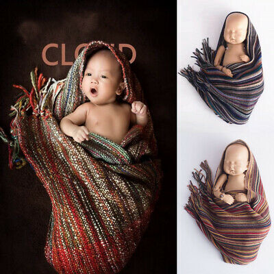 Baby Boho Knitted Yarn Sleeping Swaddle Blanket Quilts Phtograph Props Cheerful