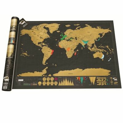 Large Travel Tracker Deluxe Scratch Off World Map Poster Atlas Falg Retro Maps