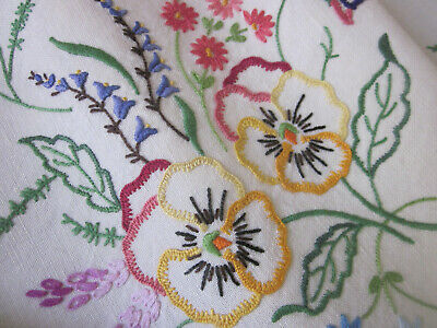 Stunning Hand Embroidered Pansies And Cottage Flowers Pure Linen Tablecloth