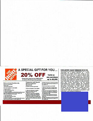 (1) 20% OFF HOME DEPOT competitors coupons good at Lowe's exp 7/31/20*