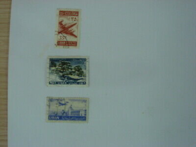 A small selection of 3 old used stamps from Lebanon