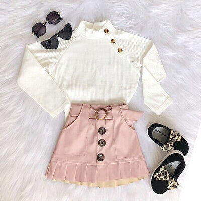 US Toddler Baby Kids Girl Long Sleeve Tops Shirt+Button Mini Skirt Warm Outfit