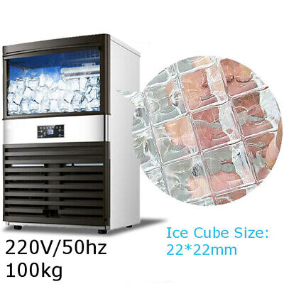 100KG Automatic Commercial Ice Cube Maker Machine Stainless Steel 220V/50HZ 600W