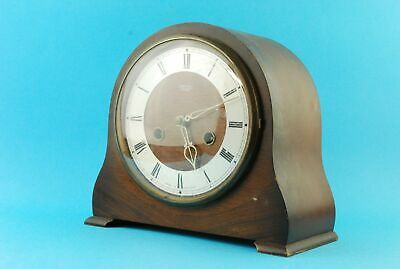 Vintage Smiths Enfield Mantel Clock Mechanical With Pendulum Wooden Body Retro